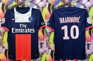 PSG Paris Saint Germain Ibrahimovic #10 2013 Home Football Soccer Jersey Mens S