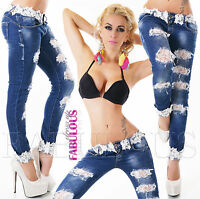 Sexy Women's Designer Ripped Crochet Skinny Jeans Size 6 8 10 12 14 XS S M L XL