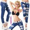 Sexy Women's Designer Ripped Crochet Skinny Jeans Size 6 8 10 12 14 XS S M L XL