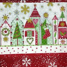 3 x Single Paper Napkins For Decoupage Craft Tissue Christmas Red Houses M411