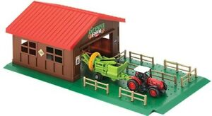 TRACTOR FARM HOUSE WITH HARVESTER SHED PLOT BARN FENCE VEHICLE KIDS TOY MODEL FI