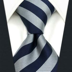 S&W SHLAX&WING Mens Neckties Striped Blue Grey Ties for Suit Jacket Business