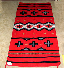 "Throw Rug /  Tapestry Southwestern Hand Woven 32x64"" New RED Acrylic 23"