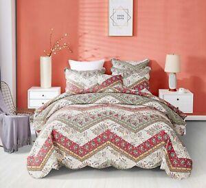 DaDa Bedding Bohemian Patchwork Red Sage Chevron Pattern Floral Bedspread Set