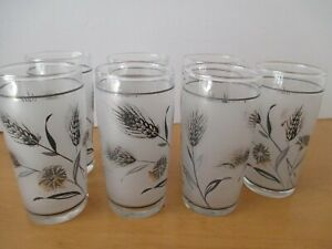 Vintage LIBBY  Juice Glasses Frosted Fall Leaves Metallic Silver Gray  Set of 7