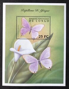 CONGO BUTTERFLIES OF AFRICA STAMPS S/S 2001 MNH FLOWERS INSECT LILY WILDLIFE