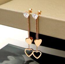 Rose Gold Titanium Stainless Steel CZ Heart Tassel Drop Earrings Gift Box PE9