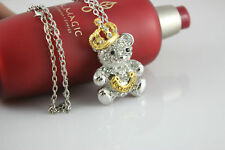 NEW Women Crown Bear necklace Silver / Gold Color