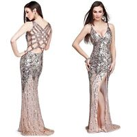 NWT PRIMAVERA COUTURE 9490 GATSBY STYLE OPEN BACK SEQUINED GOWN IN CHAPAGNE$399