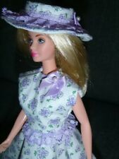 New listing Barbie Doll - New Dress Set - Lavender Floral, Hat, Purse Handmade Clothes Only