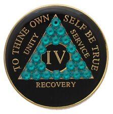 1 Year Black and Zircon Swarovski Crystallized Sobriety Recovery Medallion