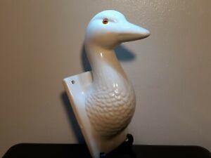 Vintage Ceramic Duck Goose Head Towel Apron Holder Hanger Country Wall Hook