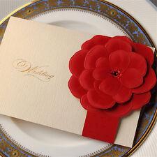 Personalised Sample Handmade DIY Laser Cut Red Rose Wedding Invitation Seal H39