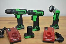 "Snap On Cordless 14.4 1/4"" Driver + Drill + Flashlight + 4 Batteries + 2 Charger"