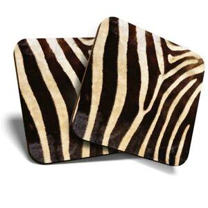2 x Coasters - Wild Animal Zebra Print Fur Africa  #46432