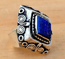 Jewelry Bohemian Hippie Carved Gypsy Boho Lapis Afghan Kuchi Tribal Ethnic Ring