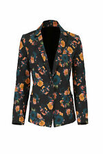 Nicole Miller Women's Blazer Black US Size Small S Two-Button Floral $495- #388