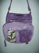 19067539ba ED HARDY LOVE IS A GAMBLE TATTOO PURPLE LEATHER CANVAS PURSE SHOULDER BAG