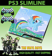 PLAYSTATION 3 SLIM  RAINBOW DASH MY LITTLE PONY SOLO STICKER SKIN & 2 PAD SKINS