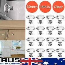 16X 30MM Clear Crystal Glass Door Knobs Furniture Drawer Cabinet Kitchen Handle·