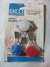 3 Pack of Reusable Ekco Bottle Stoppers -Red, White and Blue