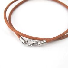 "24"" 61CM 3mm Brown Leather Cord Necklace Silver Stainless Steel Lobster Clasp"