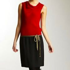 DIANE VON FURSTENBERG RED BLACK Gold Tie 100% SILK COMBO Cowl Neck DRESS sz 6