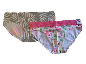 New Justice Underwear Panties 2 Oh So Soft Hipster Bikini Flamingo Lace SZ 18/20