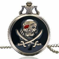 Vintage Steampunk Mens Pirates Skull Retro Quartz Pocket Watch Chain Xmas Gift