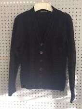 Monte Carlo Blended Wool Black Open Knit Sweater Cardigan Womens Size 12