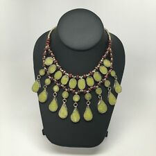 3Layers Vintage Afghan Turkmen Tribal Green Jade Inlay Teardrop ATS Necklace 19""
