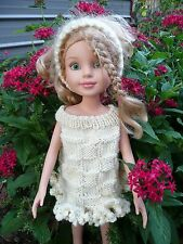 Handmade knit cream doll Sweater dress & headband  Set