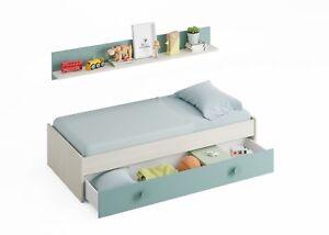 Cama doble compacto juvenil nido + estante, cama infantil, Blanco Alpes y Acqua