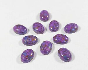GTL CERTIFIED 100 Pcs Lot Natural Purple Copper Turquoise 9x11mm Oval Cabochon