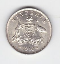1910 Sterling Silver Sixpence 6p Coin Australia King George about UNC N-467