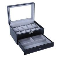 Watch Box for Men 10 Watch Display Organizer with PU Leather ,Black