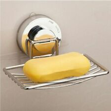 Stainless Steel  Wall Vacuum Suction Cup Soap Box Bathroom Dishes Holder Basket