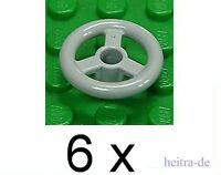 LEGO - 6 x Lenkrad / Absperrrad 2x2 hellgrau / Steering Wheel / 30663 NEUWARE