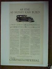 1926 Chrysler Imperial Car Art Trade Promo Auto Print Ad