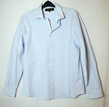 BLUE WHITE STRIPED GENTS FORMAL SHIRT SIZE M 16.5 RIVER ISLAND SLIM-FITTED