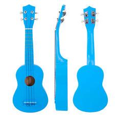 "New 21"" Basswood Soprano Ukulele Guitar 12 Frets Hawaiian Instrument Blue"