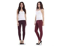 Ladies Warm Leggings Womens Plain Cotton Stretch Full Length Plus Size Wine