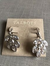 Set Cubic Zirconia Lever Back Earrings Talbots Nwt $69 Sterling Silver Bezel
