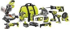 Cordless Power Tool Combo Kit 12 Tools Miter Saw Circular Saw Drill Nail Gun 18V