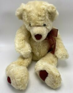 """FAO Schwartz Christmas Winter Teddy Bear with Scarf Brown 12"""" Sitting Height"""
