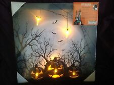 """HALLOWEEN SPOOKY PUMPKINS LED """"LIGHT UP"""" CANVAS Picture  BATTERIES INCLUDED"""