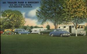 Statesboro GA 301 Trailer Park Colorful Linen Postcard