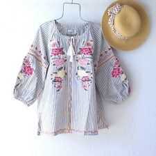 New~Coral Rose Lemon Sage Embroidered Peasant Blouse Spring Boho Top~Medium M