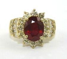 2054e983096f Ovalado Rojo Rubi y Diamante Halo Anillo Solitario 14k Oro Amarillo 6.41Ct