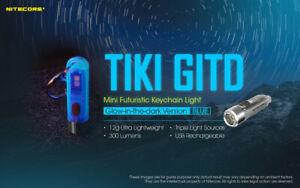 NITECORE TIKI GITD BLUE 300lumens (GLOW IN THE DARK) Version Keychain Flashlight